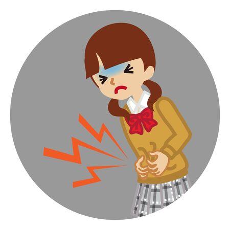 Female high school student suffering from stomach ache - flu symptom clip art, circular icon