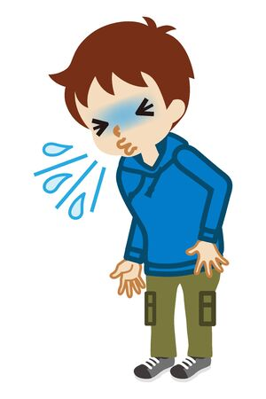Toddler boy suffering from sneeze - flu symptom clip art, full length Vectores