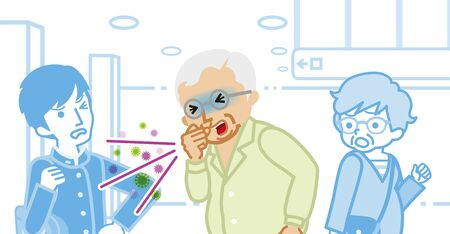 Coughing senior man and annoyed people - spread virus concept art 免版税图像 - 139785976