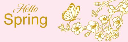 Butterfly and Cherry blossom twig - Line art style, banner ratio - included words