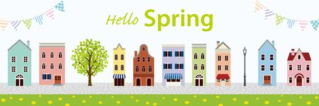 Old style town in Springtime, banner ratio - included words