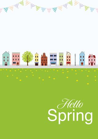 Old style town in Springtime, vertical layout - included words