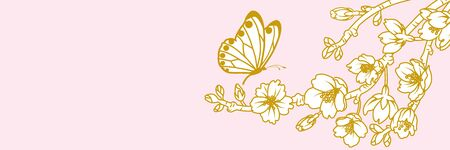 Butterfly and Cherry blossom twig - Line art style, banner ratio Banque d'images - 140955608