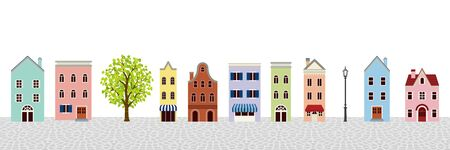 Townscape of colorful retro houses - stone paving