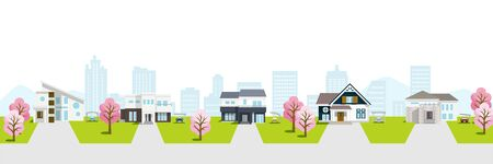 Residential area townscape with cherry trees incluede sihouette of building  ,white background 矢量图像