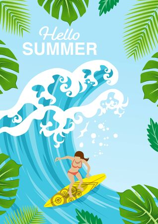 Surf girl enjoying surfing, tropical leaves frame - included words Hello Summer
