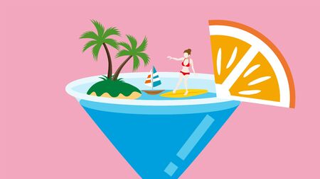 Summer vacation concept art - young woman enjoying surfing on the cocktail glass  イラスト・ベクター素材