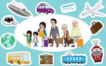 Traveler of asian multi generation family and Transportation icon set Vector Illustratie