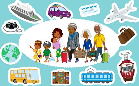 Traveler of african multi generation family and Transportation icon set