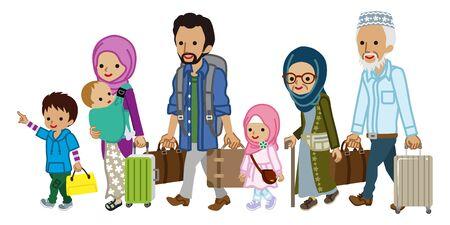 Traveler of muslim multi generation family Ilustración de vector