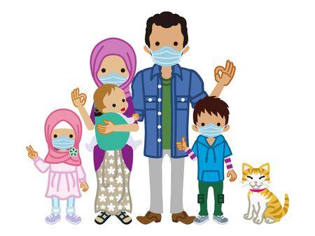 Muslim family wearing medical mask - full length