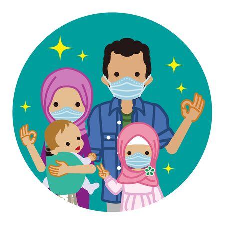 Muslimische Familie mit medizinischer Maske - kreisförmige ClipArt Vektorgrafik