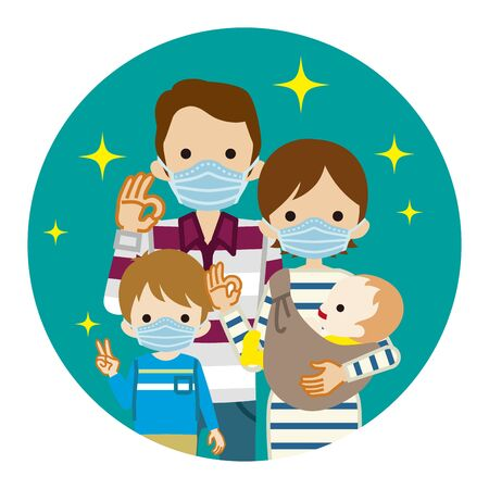 Family wearing medical mask - circular clip art
