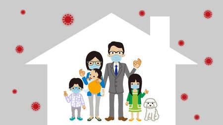 Stay at home concept art - asian family
