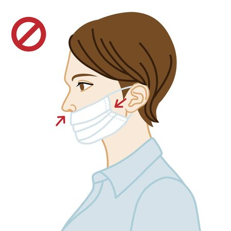 Young woman wearing a face mask wrong way, nose expose  - side view