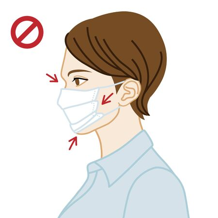 Young woman wearing a face mask wrong way, chin expose  - side view