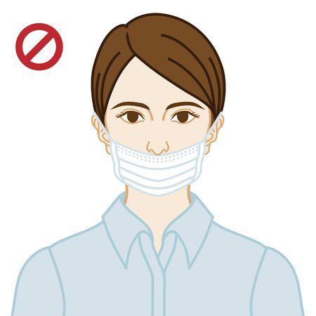 Young woman wearing a face mask wrong way, nose expose  - front view Illustration