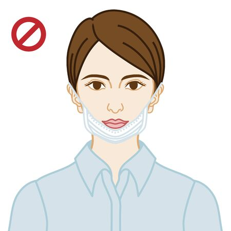 Young woman wearing a face mask wrong way, mouth expose  - front view
