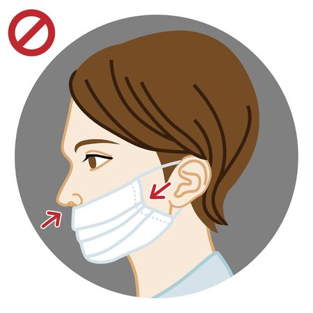 Young woman wearing a face mask wrong way, nose expose  - side view, circular clip art