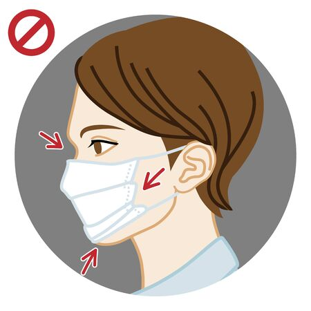 Young woman wearing a face mask wrong way, chin expose  - side view, circular clip art Illustration