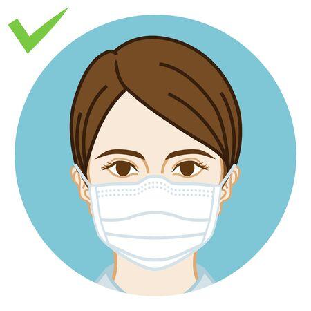 Jeune femme portant correctement un masque facial - vue de face, clipart circulaire