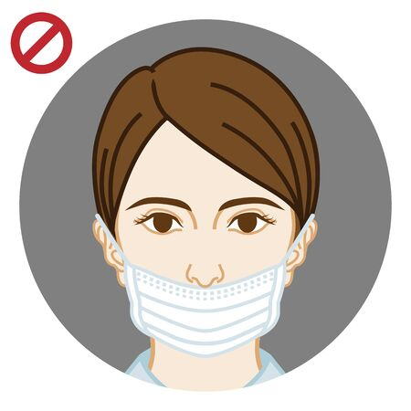 Young woman wearing a face mask wrong way, nose expose  - front view, circular icon