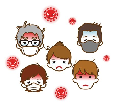 Sick people's face and covid 19 virus
