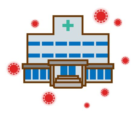 Hospital building is surrounded virus - simple clip art