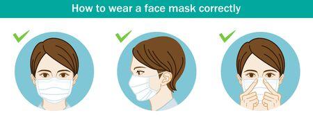 Woman wearing a face mask correctly - Three circular clip art Vettoriali