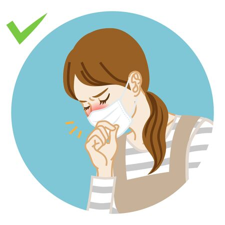 Housewife coughing a little who wearing face mask - circular icon clipart