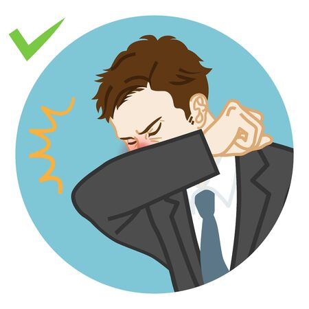 Coughing businessman covered mouth by arm - circular icon clipart