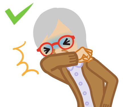 Coughing senior woman covered mouth by arm - waist up , cartoon style