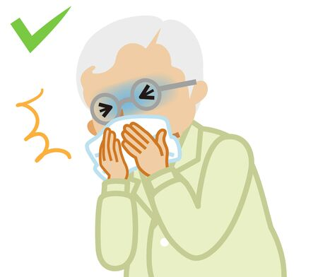 Coughing senior man covered mouth by a handkerchief - waist up , cartoon style Vektorové ilustrace