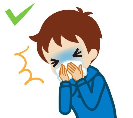 Coughing toddler boy covered mouth by a handkerchief - waist up , cartoon style