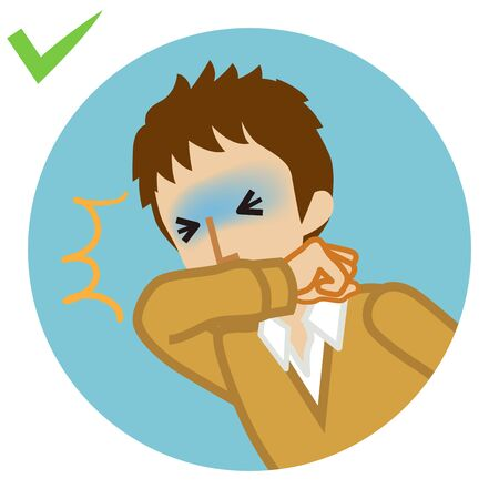 Coughing male student covered mouth by arm - circular icon , cartoon style