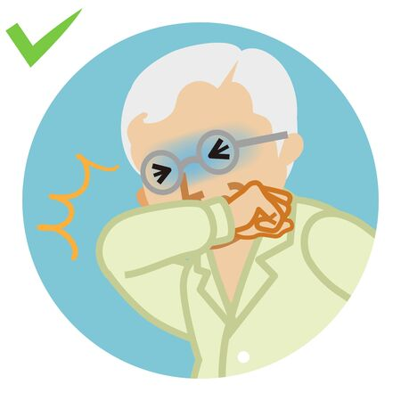 Coughing senior man covered mouth by arm - circular icon , cartoon style 일러스트