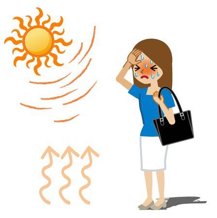 Businesswoman suffering heatstroke