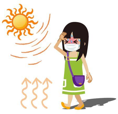 Toddler girl who wearing a medical mask suffering heatstroke