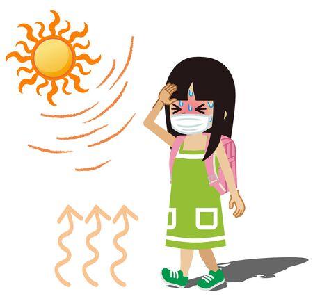Elementary student girl who wearing a medical mask suffering heatstroke - black hair Vecteurs