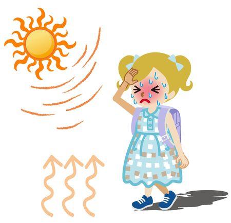 Elementary student girl suffering heatstroke - blonde hair Vecteurs