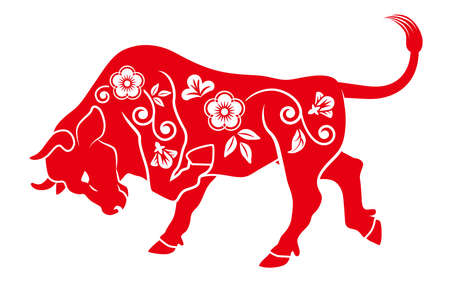 Floral patterned offensive OX - Year of the ox ,Chinese zodiac sign clip art