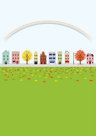 Old style town in autumn, rainbow - vertical layout