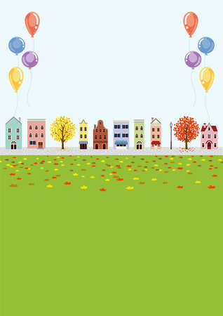 Old style town in autumn, balloon decoration - vertical layout