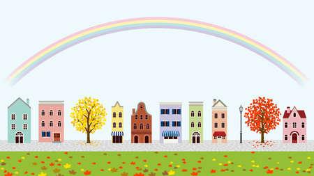 Old style town in autumn - rainbow