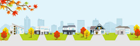 Residential area in autumn nature, banner ratio