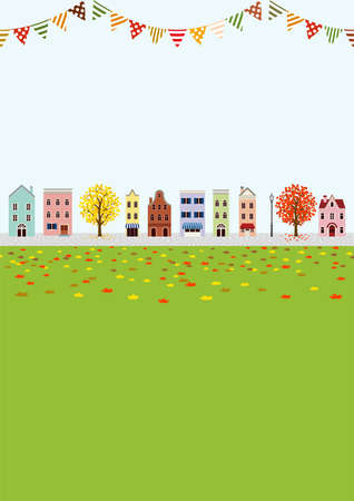 Old style town in autumn, bunting decoration- vertical layout
