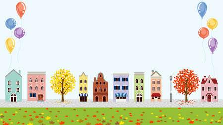 Old style town in autumn - balloon decoration
