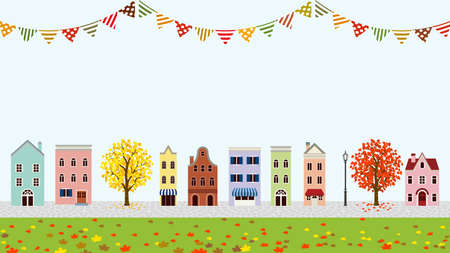 Old style town in autumn - bunting decoration