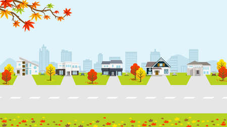 Residential area in autumn nature