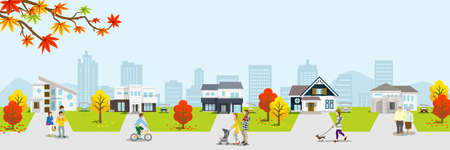 People in Residential area - autumn nature, banner ratio